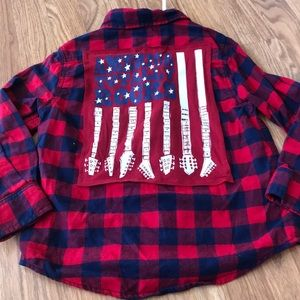 USA Upcycled Cat & Jack Button Down Shirt Size XS